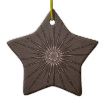 Kaleidoscope Design Rustic Brown Ceramic Ornament