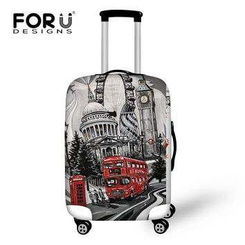 FORUDESIGNS Vintage Travel Luggage Suitcase Cover Storage Bag Retro Case Cover Thick Protective 18-30 Inch Travel Accessories