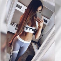 grey Women explosion models selling English letters printed quick-drying female fitness wear sports suit