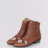 Tan Leather Floral Embroidered Western Boots