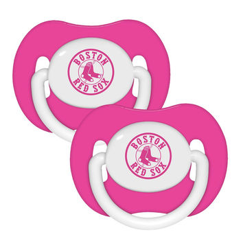 2 Pack Pink Pacifiers - Boston Red Sox