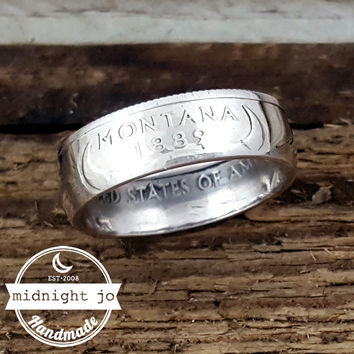 Montana 90% Silver State Quarter Coin Ring