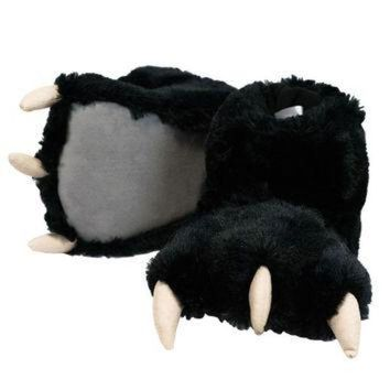 Black Bear Paw Adult Slippers