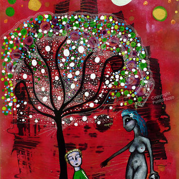 Mother Hulda , Whimsical painting - fantasy art , whimsical forest ,abstract painting,11.81 x 15.74 inches,shamanism,nude, elder tree legend