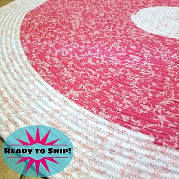 """Handmade 42"""" Round Area Rug Two Tone Pink Pattern Bohemian Chic"""
