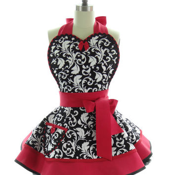 Retro Apron - Red Parisian Sexy Womans Aprons - Vintage Apron Style - Damask Pin up Rockabilly Cosplay Costume