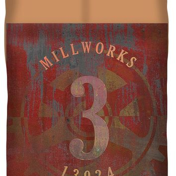 Millworks Industrial Sign Red Grey Queen Duvet Cover for Sale by Suzanne Powers