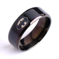 Cool Black ring high polished 316L Titanium steel finger rings men and boys fashion jewelry Size 7-12 for Batman