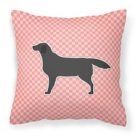 Black Labrador Retriever Checkerboard Pink Fabric Decorative Pillow BB3608PW1414