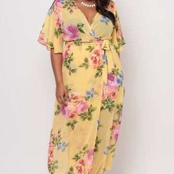 Plus Size Floral Cross Wrap Dress- Yellow