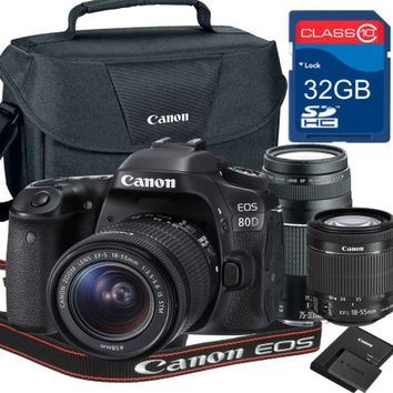 Canon 80D Bundle With canon ef-s 18-55mm is STM Zoom Lens + 75-300mm III Telephot Lens + 32GB memory + Canon Camera Bag - Walmart.com