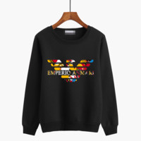 """""""Armani"""" Unisex Casual Multicolor Logo Letter Print Couple Round Neck Thickened Long Sleeve Sweater Tops"""