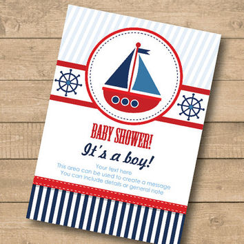 nautical theme - Boat / Ship Boy  Baby Shower Invitation –Ready to print – Put your own text - Instant Download