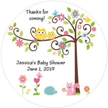 Happi Tree Owl Baby Shower Stickers