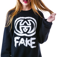Petals and Peacocks Fake GG Sweatshirt Black