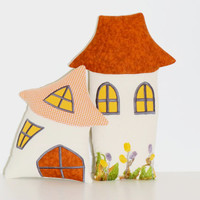 House Pillow, Happy Houses Pillow  Stuffed Toy,  House Shape Pillow,  Kids pillow,  Whimsical Pillow