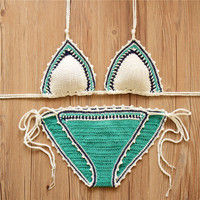 Bland New 2016 Sexy Handmade Crochet Bikini Set Women Low Waist Crochet Swimsuit Biquini Swimwear Bathing Suit Beach Suit