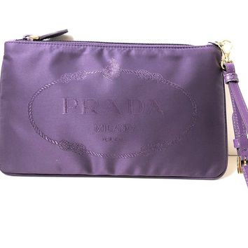 Prada Women's Purple Nylon Jacquard Wristlet Cosmetic Case 1NH545