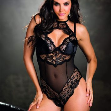 Shirley Of Hollywood Stretch Lace & Mesh Teddy