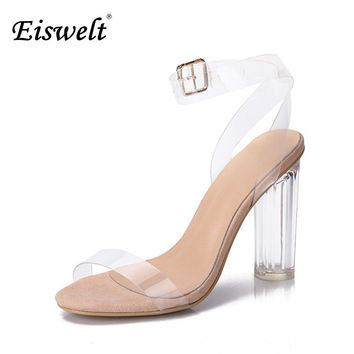 Eiswelt 2017 Jelly Sandals Open Toe High Heels Women Transparent Perspex Shoes Thick Heel Clear Sandals Plus Size35-43#GMJ23
