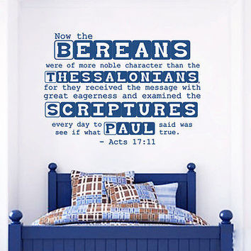 Wall Decal Bible Verses Psalms Acts 17:11 Now The Bereans Vinyl Sticker DA3638