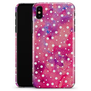 White Polka Dots Over Pink Watercolor Grunge - iPhone X Clipit Case