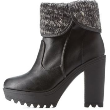 Black Lug Sole Sweater-Cuffed Booties by Charlotte Russe