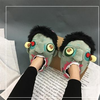Hot New Lovers Shoes The Walking Dead Cosplay Costumes Individuality Fancy Fashion Creative Zombie Terror Slipper