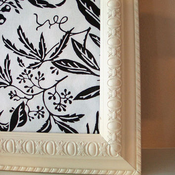 Framed Fabric Cork Pushpin Bulletin Board - Dorm Room Teen Bedroom Black White Floral - Cream Decorative Frame Back to School College