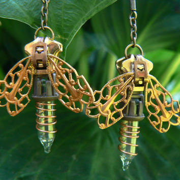 Steampunk Earrnings - Zipper Earrings - Dangle Earrings - Firefly Earrings