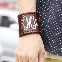 Brown Wide Leather Monogrammed Cuff Bracelet  Font shown INTERLOCKING in ivory