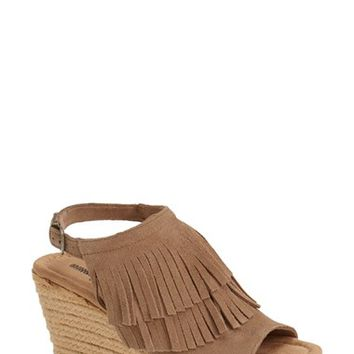"Women's Minnetonka 'Ashley' Fringe Suede Espadrille Wedge Sandal, 3 1/4"" heel"