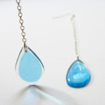 Long Turquoise Drop Earrings, Resin Dangling Earrings, Long Chain Dangle Earrings, Aqua Blue Earrings, Bridesmaid Gift for Her, Transparent