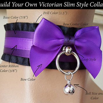 Build Your Own Victorian Slim Style Satin Lined Kittenplay Petplay Collar PLEASE READ DESCRIPTION