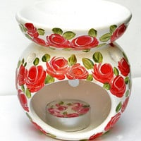Essential Oil Tea Light Warmer Set Painted Red Roses Romantic Decor FREE SHIPPING