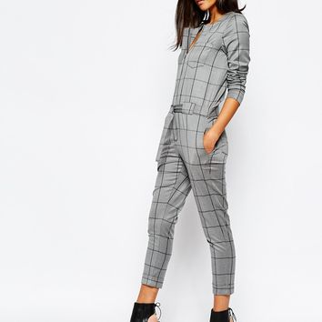 Sisley Grey Check Jumpsuit