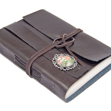 Dark Brown Faux Leather Journal with Cameo Bookmark