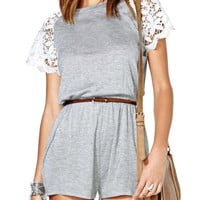 Lace Sleeve Grey Romper