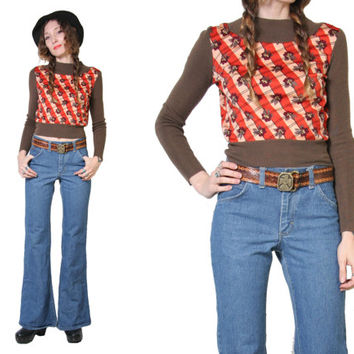 Vintage 70s Novelty Print Sweater - Cropped Sweater - Brown Knit Sweater - Boho Top Shirt - Long Sleeve - Cozy Soft - Made in Italy Small
