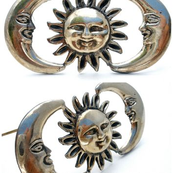 Sterling Silver Moon & Sun Brooch Pin Vintage