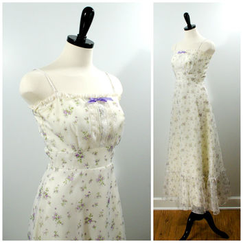 Vintage Floral Sundress, 70s Prairie Style Sleeveless Lavender Purple Floral Maxi Dress, BOHO Size 6 XS
