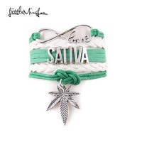 Sativa - Leather Woven Bracelet with Infinite Cannabis Leaf
