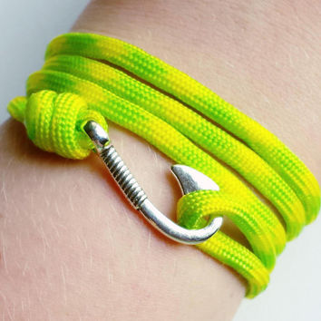 Fish Hook Paracord Bracelet- Adjustable Paracord Bracelet- Emergency Paracord Bracelet- Yellow Green 550 Paracord- Unisex Survival Bracelet