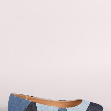 LUD l Bamboo Denim Patchwork Pointy Toe Flat For Women A Flat Heel Casual Shoes & Women's Pumps Sandal For Women