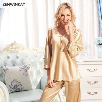 2017 Summer Spring Satin Sexy Sleepwear Silk Pajamas Set Woman Pajamas with Pants Pure Silk Nightwear with Pants