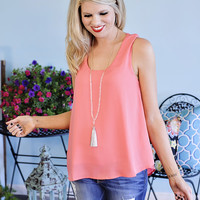 Tiana Sleveless Top with Solid Front and Crochet Back : Coral
