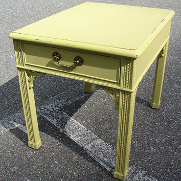 SALE Reclaimed Distressed Vintage Upcycled Yellow Paint 1 Dr Accent End Side Table