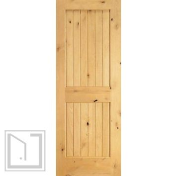 S/W-96 Interior Knotty Alder Wood 2 Panel V-Grooved Single Door