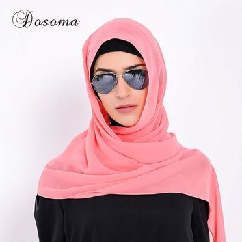 Muslim Headscarf Plain Bubble Chiffon Scarf Turban Solid Bandana Kaftan Instant Hijab Arab Islamic Prayer Loop Shawls Scarves