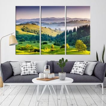99007 - Sea View From Hill and Forest Canvas Print